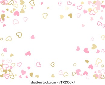 Doodle heart border vector pattern. Background frame illustration with love symbols heart confetti for wedding invitation card, Valentine's day border. Romantic feelings doodle, relationships concept.