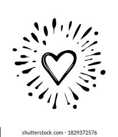 Doodle heart burst in vintage style on white background. Black vector hand drawn heart sketch illustration. Sun, starburst, sparkle, sunburst set. Line sparkle explosion. Marker handdrawn line