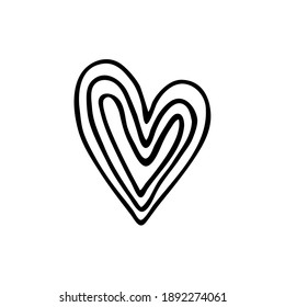 Doodle heart for the holiday of valentine's day. Abstract heart for postcards, decoration, web, print. Hand-drawn.