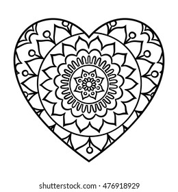 Doodle heart mandala coloring page. Outline floral design element in a heart shape. Coloring book pattern. Decorative round flower. Love, acceptance, positive energy concept. Vector illustration.