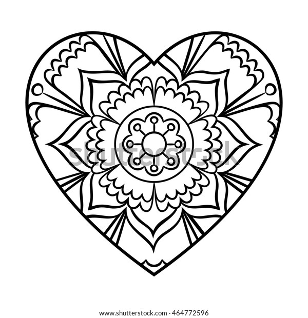 Doodle Heart Mandala Coloring Page Outline Stock ...