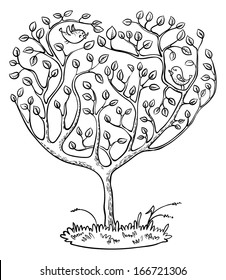 Doodle heart shape tree with birds