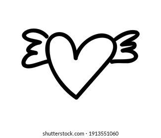 Doodle heart with wings vector hand drawn illustrations isolated on white background