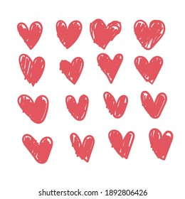 Corazones de garabatos, colección de corazón de amor dibujada a mano.