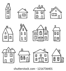 Doodle home set - cartoon style vector illustration.