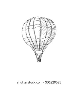 doodle hot air balloon isolated on white background, excellent vector illustration, EPS 10
