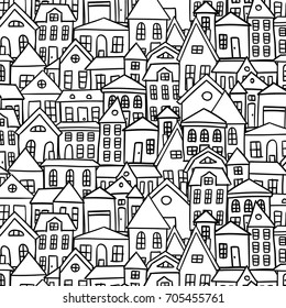 Doodle houses vector background