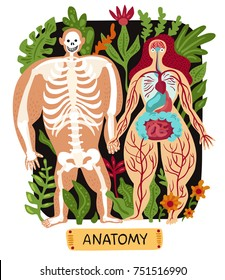 Doodle human anatomy set with funny male and female silhouettes on background with plants flat vector illustration