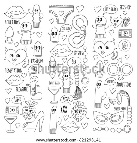 Doodle Humorous Vector Sextoys For Sex Shop Internet Shop Dildo Sex Love