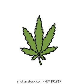 doodle icon. cannabis (marijuana leaf) icon. vector illustration