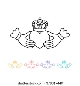 doodle icon. claddagh ring. vector illustration