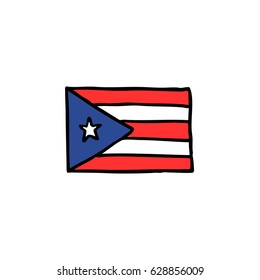 doodle icon. Flag Puerto Rico