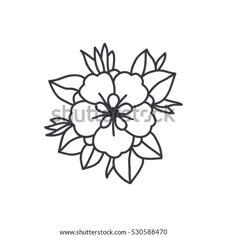 Doodle Icon Flower Traditional Tattoo Flash Stock Vector Royalty