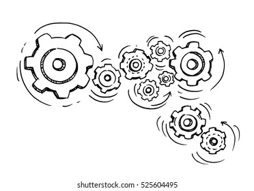 Doodle icon of gears. Technology,Drawn in black ink on white background