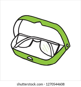 Doodle icon glasses in case. A simple drawing without pouring. Vector illustration