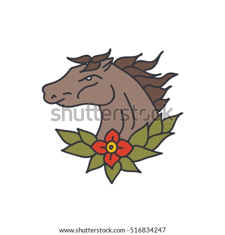 Doodle Icon Horse Traditional Tattoo Flash Stock Vector Royalty