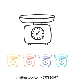 doodle icon. kitchen scales. vector illustration