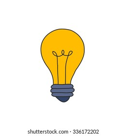 doodle icon. light bulb. vector illustration