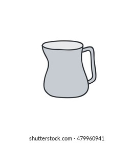 doodle icon. milk pitcher with handle. barista tool. vector illustration