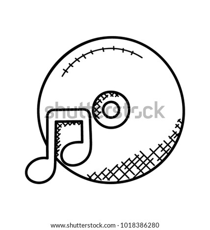Doodle Icon Music Compact Disc Stock Vector Royalty Free