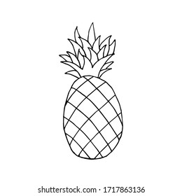 Doodle icon Pineapple. Contour drawing of a Pineapple isolated on a white background. Tropical fruit Vector illustration