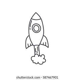 doodle icon. rocket. vector illustration