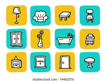doodle icon set - furniture