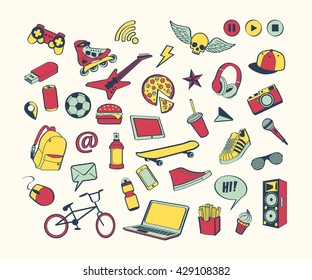 Doodle icon set for teenagers. Colored hand drawn collection. Sport, food, music, multimedia concept. Cool modern design for print, poster, card, notebook, textile, Vector illustration