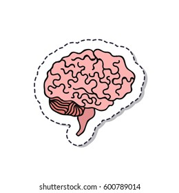 doodle icon, sticker. human brain. isolated on white background. vector illustration