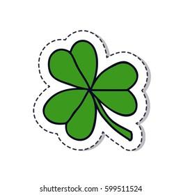 doodle icon, sticker. shamrock. isolated on white background. vector illustration