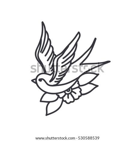 Doodle Icon Swallow Traditional Tattoo Flash Vector De Stock Libre