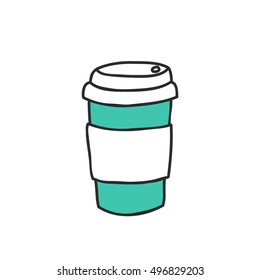 doodle icon. take away coffee cup. vector illustration