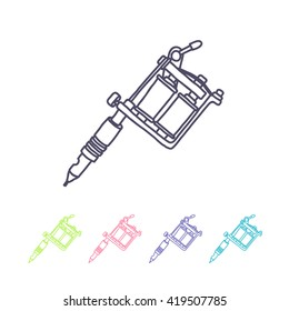 doodle icon. tattoo machine. vector illustration