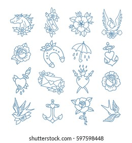 doodle icon. traditional tattoo flash set. vector illustration