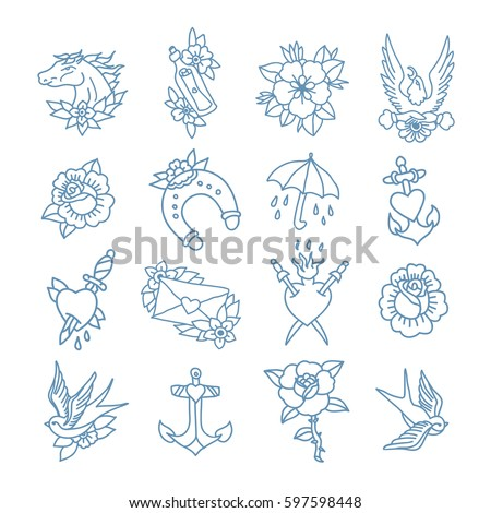 Doodle Icon Traditional Tattoo Flash Set Vector De Stock Libre De