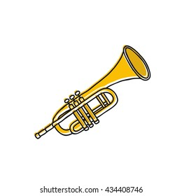 doodle icon. trumpet. vector illustration
