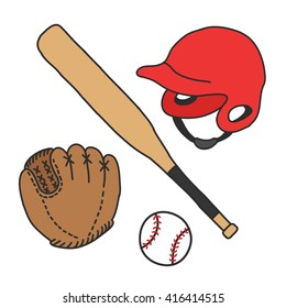 doodle icons. baseball set. vector illustration