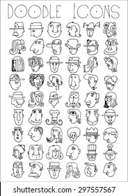 doodle icons illustration collection FACES men and women cartoon