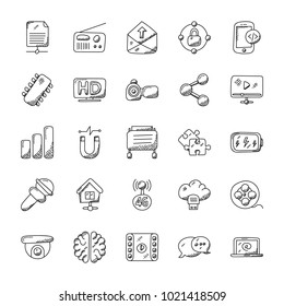 Doodle Icons Set of Technology Theme
