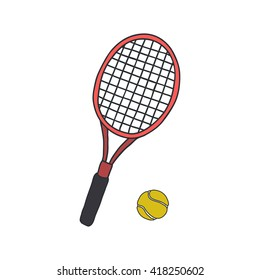 doodle icons. tennis racquet and ball. vector illustration