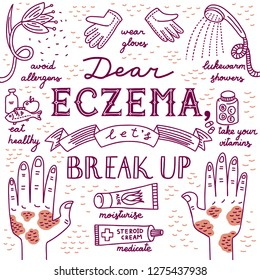 Doodle illustration about atopic dermatitis with text Dear eczema, let's break up. Allergen flower, gloves, shower, vitamins, medication, cream, healthy food. Hands with red spots. White background.