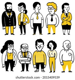 Doodle illustration collection of business people, diversity, full length, full body, multi-ethnic, happy expression. Outline, linear, thin line art, hand drawn sketch design, cute character.