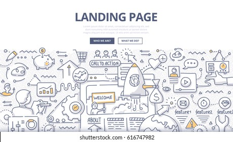 Doodle illustration of customer arriving at landing page. Concept of creating landing page to generate leads, selling products and capture visitor's information for web banners, hero images