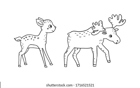 Doodle illustration of a deer and elk isolated on a white background.