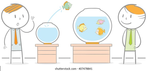 Doodle illustration of a fish jumping out to another fish bowl