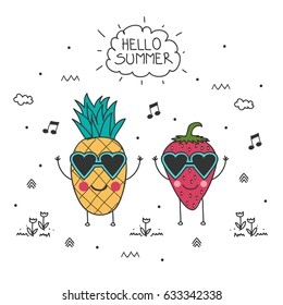 Doodle illustration of funny pineapple and strawberry in heart shape sunglasses, hand drawn lettering Hello Summer and doodle elements. Vector Illustration. Summer background.