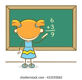 Doodle illustration: Girl solving a math question  on a chalkboard