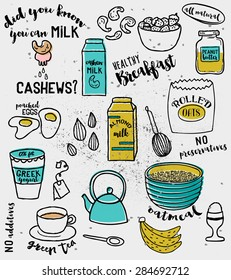 Doodle illustration of ingredients for a healthy breakfast, including rolled oats, almond and cashew milk, Greek yogurt, bananas, strawberries and green tea, hand drawn