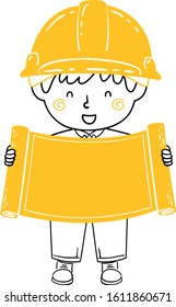 Doodle Illustration of a Kid Boy Wearing Construction Yellow Hard Hat and Showing Blank Blueprint