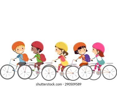 4643ffd5a15 Doodle Illustration of Little Kids Wearing Helmets While Biking